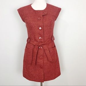 Anthro Tabitha Blustery Days Red Tweed Jacket